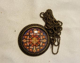 DreamscapesByCyn--Red and Yellow Stained Glass Pendant