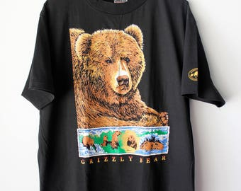 Vintage National Parks and Conservation Association Grizzly Bear T-Shirt // Oneita // Men's X-Large