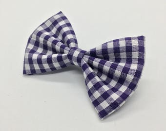 Dark Purple Gingham Bow