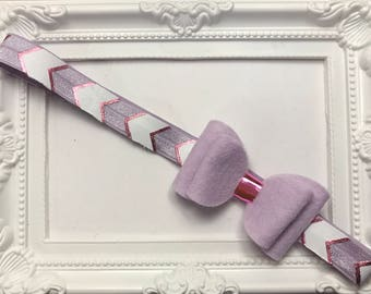 Lilac pink double felt hair bow hairband head band metallic chevron elastic