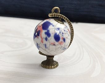 3D Globe Pendant, Bronze Globe, Ceramic Globe, Travel Pendant,  37mm x 25mm,  BPC007