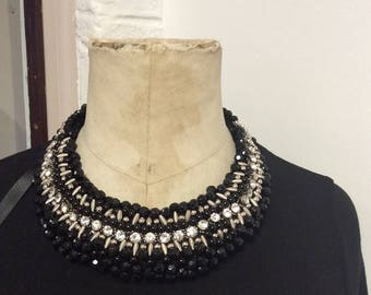 Handbeaded Black & diamond statement neckpiece