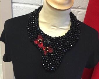 Black & Red hand Beaded Bib collar