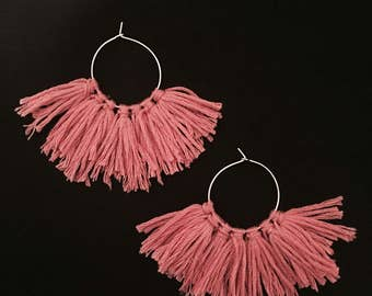 Tassel hoop earrings - small block colour