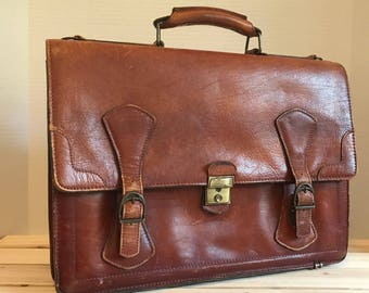 RENWICK Genuine Leather Large Brown Briefcase Bag Made In Canada