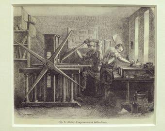 Antique engraving printing shop craftsmen book screw press etching matted print 1880s original vintage excellent condition