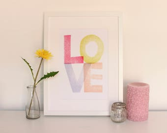 Nursery Print Love Pink Wall Art A5 A4