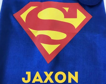Personalized Superhero Cape and Mask Set, Superman Cape, Superman Party Favors, Superman Birthday Party