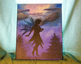 """Fairy Painting 16""""x20"""" - Fairy silhouette night scape painting on stretched canvas Purples and blues -More Fae & Pagan Goodies in my shoppe!"""