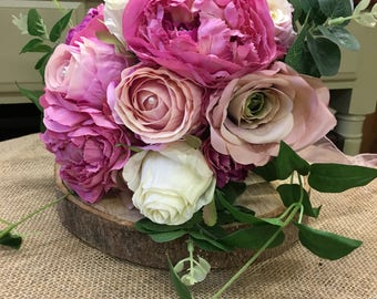 Beautiful silk artificial realistic hand tied wedding bouquet, pink and cream Roses and Peonies.