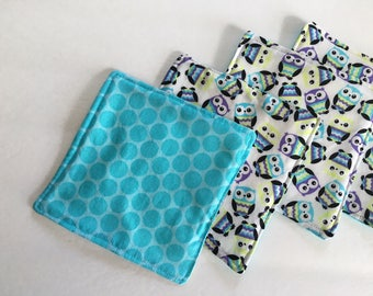 Fabric Coasters, Quilted Coasters, Drink Coasters, Cloth Coasters, Modern Coasters, Owl Coasters, Turquoise Coasters, Owl Decor