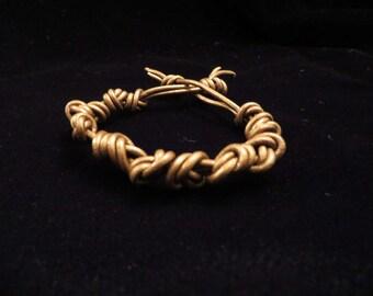 Bronze Leather Knotted Bracelet