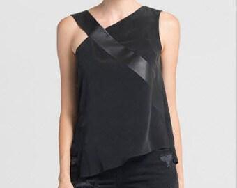Black Women Top/Asymmetric Sleeveless Black Loose Tank Top/Black Blouse