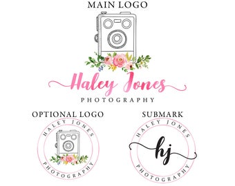 Watercolor marketing kit, pink foil logo design, photography logo design, floral logo template, watercolor flower, premade branding template
