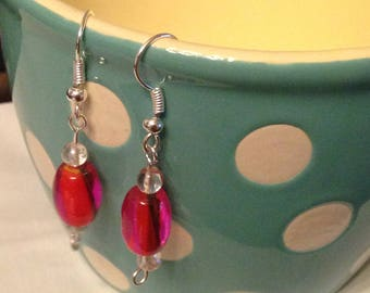 Pink Marbled Earrings with Clear Glass Bead Accents