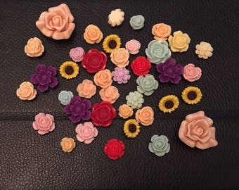 Pack of resin assorted flowers