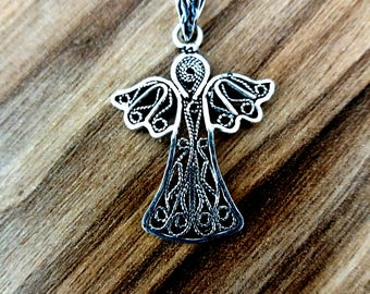 Handmade Silver Angel Necklace - Pendant