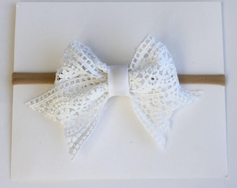 White Lace Nylon Headband