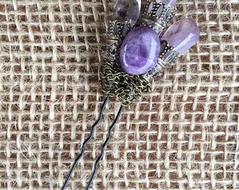 Amethyst Brass Hair Pin / Dread Jewellery