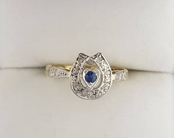 18ct Gold & Sapphire Horse Shoe Ring