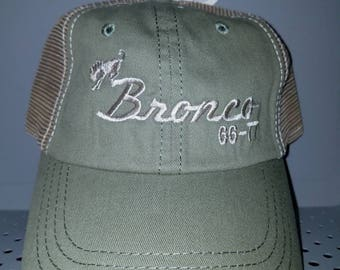 Early Bronco sage green hat tan stitching