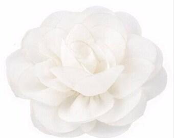 2 White Rose Flower Baby Girl Hair Clips 1 Pair