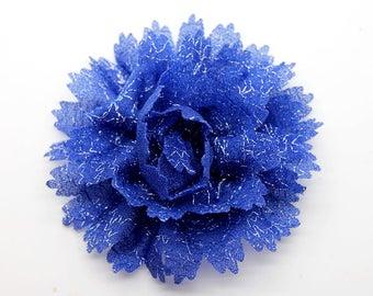 2 Navy Dark Blue Sparkle Flower Baby Girl Flower Hair Clips Brooches