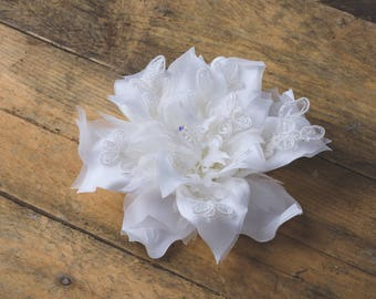 off white fabric daffodil, organza, lace, beautiful flowers, headband corsage hand made, bridal, wedding evening satin luxury  haute couture