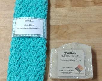 Spa Gift Set - Washcloth and Soap Set - Handmade Soap Gift Set - Handmade Vegan Soap - Washcloth