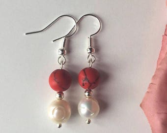 Freshwater Pearl and Coral Earrings; Red and White/Cream Bridal, Romantic Earrings, Pearl Earrings, Gift for her, Jewelry for mom,