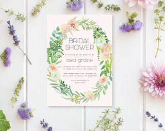 Printable Bridal Shower Invitation | Spring Watercolour Floral Style | Bridal Shower Invitation | DIY Printable Invitation | Laurel