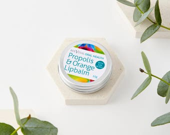 Propolis and Orange Lipbalm - With Healing Beeswax - Shea Butter - Cocoa Butter - Handmade Lip balm