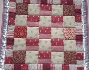 baby quilt, baby blanket, handmade quilt, cot quilt, baby shower, christening, birthday, pink, peter rabbit, free shipping