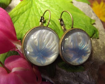 Hand painted pale blue & white flower 20mm lever back earrings