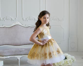LUXURY communion dress flower girl party wedding bridal baptismal dress lace communion bridesmaid birthday loop photo shoot dance dress