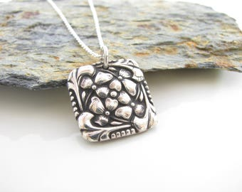Silver Flower Pendant - Hand Made from Fine Silver on a Sterling Cable Chain - Oxidized - Ready to Ship - PMC Pansies - Square Pendant