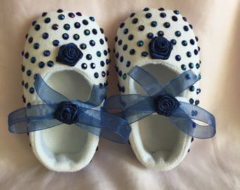 Baby Girl Sapphire Blue Crystal Ribbon Bow Crib Shoes 0-3 months