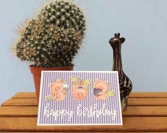 Three little pigs birthday card