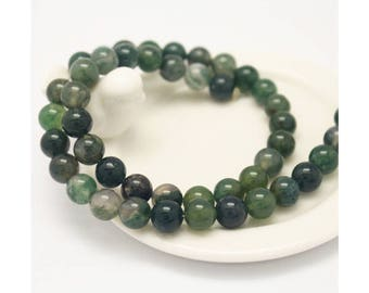 1 Strand (15 inches) Green Ocean Moss Agate 8mm Round Beads CB989