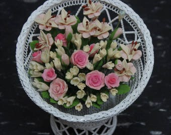 Dollhouse Miniature Handmade Clay Flower Arrangement in a Retro Vintage Iron Wire Flower Stand. Premium Quality Beautiful Flower Design.