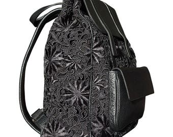 The Delphine Guipure Lace and Leather Backpack