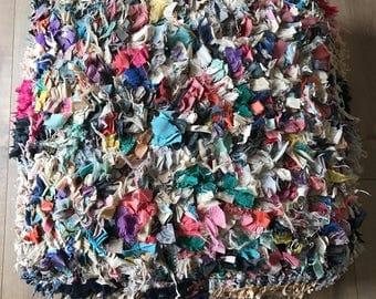 Moroccan Boucherouite Pouf, Floor Cushion, Vintage Pouf, Boucherouite, Floor Pillow