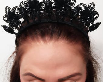 Matte Black, Floral Crown, black crown, flower crown, flowers, metal crown, black headpiece, fascinator.