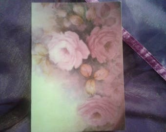 4 Shabby Pink Rose Blank Greeting Card
