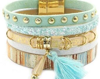 Bohemian bracelet, bangle, blue, gold
