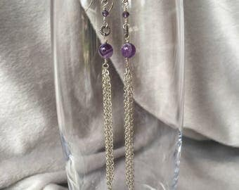 Silver chain earrings with amethyst.