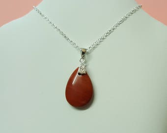 Red Jasper Pendant, Silver Necklace, Sterling Silver, Silver Pendant, Pendant Necklace, Red Jasper Necklace, Jasper Pendant, Red Jasper