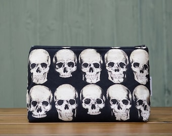 Handmade Alexander Henry Rad Skulls black and white goth zippered make up / toiletries / cosmetics / wash bag pouch, fully lined