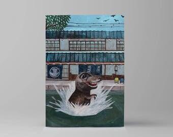 Rawr! Let your imagination roar // original acrylic painting // quirky art // dinosaur // Japan // rawr means I love you in dinosaur