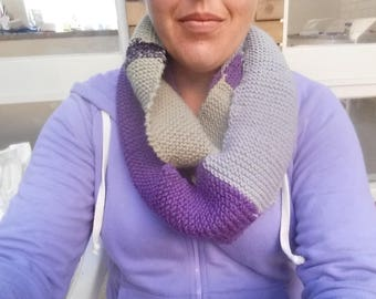 Pure wool purple, grey and green infinity scarf.